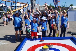 synthetic ice curling for theme parks