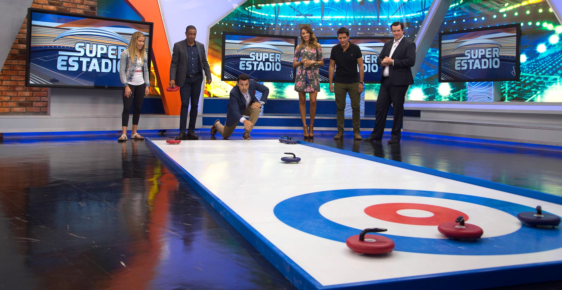 portable curling rink on the news