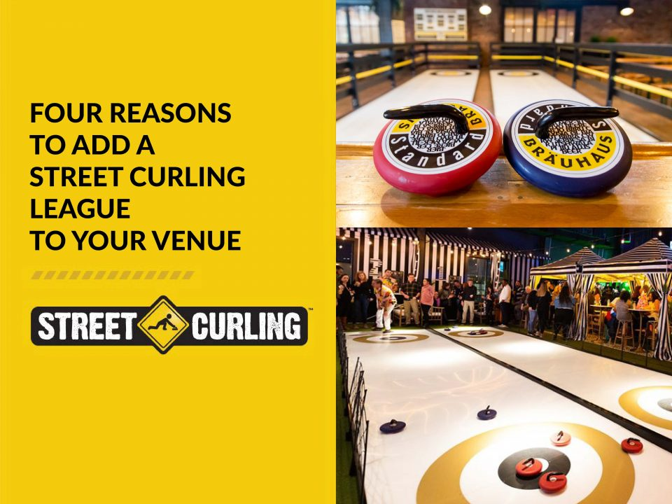 Feature image depicting a Street Curling league in an entertainment venue. Patrons are participating in games of street curling.