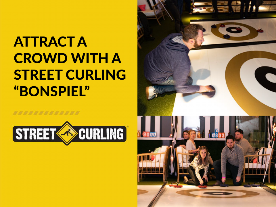 The featured image of the blog post showing participants having fun while playing Street Curling.